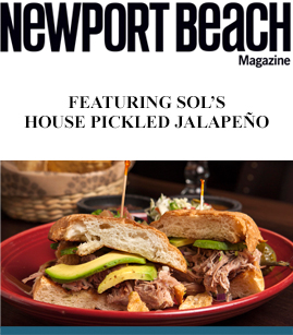 Newport Beach Magazine Featuring SOL's House Pickled Jalapeño banner image